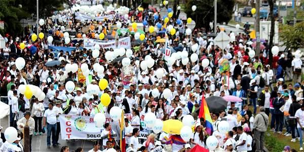 Movilización por la paz en Popayan. Foto: El Tiempo