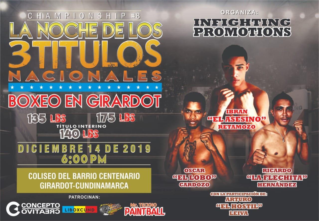 Boxeo en Girardot: La noche de los tres títulos nacionales